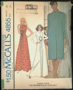 Uncut 1970s Stretch Knits Front Insert Maxi by VintagePatternsCo1