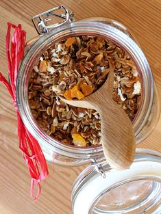 Homemade Granola. I made this the other day without the fruit and coconut. Great on yogurt!
