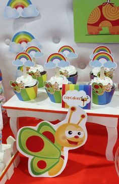 How cute are these cupcakes at a Baby TV birthday party! See more party ideas at CatchMyParty.com!