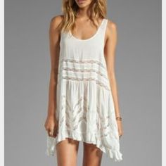 """Free people trapezedress in eggshell Light, flowy, elegant dress. In the color """"tea"""" an off-white color. One of my favorite dresses. Free People Dresses"""