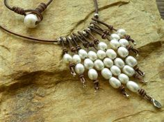 Cascading Pearls Artisan Silver and Leather Necklace by TANGRA2009