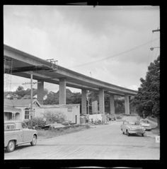 Southern motorway viaduct under construction, Newmarket, Auckland Nz History, My Family History, Auckland New Zealand, Old Images, Under Construction, What Is Like, Homeland, Historical Photos