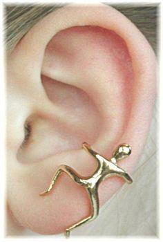 Man Climber - Ear Cuff - Ear Wrap - Ear Cuff No Piercing -Ear Cuff Gold -Silver Ear Cuff - Helix Cuff - Clip On Earrings -Statement Earrings Ear Jewelry, Cute Jewelry, Body Jewelry, Jewelry Box, Jewelry Accessories, Fashion Accessories, Jewelry Design, Unique Jewelry, Jewellery