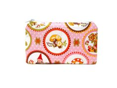 Mini Zipper Pouch / Cute Camera Bag in Gnome Garden on Pink.