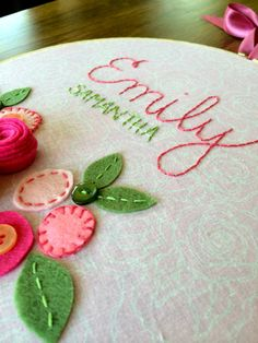 FELT FLOWERS with NAME Personalized Girl's by MissTweedleCrafts