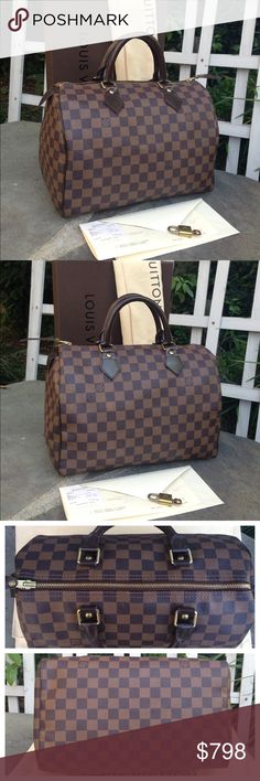 LV Ebene Speedy 30 DUST BAG, PADLOCK, RECEIPT, BOX A used auth Louis Vuitton Ebene Speedy 30 w/dust bag, lock, key receipt, box (1 corner damaged). Inside: no noticeable marks, comes from a smoke free home, odorless. All stitching is intact, no rips or tears. Exterior: no cracks, rips or tears. Pipings/Leather trims are in excellent shape W/minor scratches. Handles are in great shape (coating is intact). All 4 bottom corners are in great shape. Zipper runs smoothly. Hardware has light…