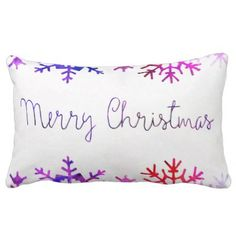 Purple and Pink Merry Chistmas Snowflakes Lumbar Pillow - diy cyo customize create your own #personalize