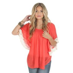 Wrangler- Coral Lace Sleeve Poncho Top
