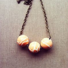 Peach Bead Necklace Simple Necklace Minimalist by lowelowejewelry, $18.00