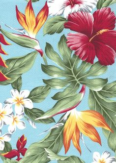 20noke Tropical design, clustered bird of paradise, plumeria (frangipani), heliconia, hibiscus and leaves, all over design.