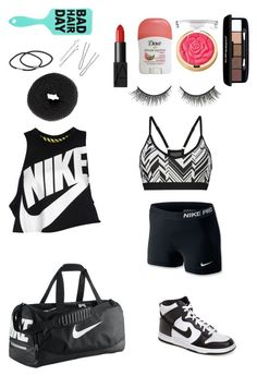 """Hip-hop/ dance class outfit and essentials"" by christinad1101 ❤ liked on Polyvore featuring NIKE, NLY Accessories, NARS Cosmetics, Rimini, Bellapierre, women's clothing, women's fashion, women, female and woman"