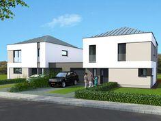 Maison jumelée droite House Facades, Facade House, Local Technique, Construction, Love Design, Luxembourg, Townhouse, House Styles, Outdoor Decor