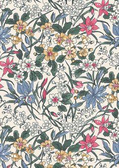 Liberty - English Garden Ricardo LF04775606X Textile Patterns, Flower Patterns, Print Patterns, Geometric Patterns, Textile Design, Textiles, Dwarf Lilac, Shrub Roses, Floral Drawing