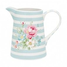 GreenGate Stoneware Jug Marie Pale Blue H 17 cm Mugs And Jugs, Teapots And Cups, Pastel Kitchen, Pottery Painting, Ceramic Clay, Soft Colors, Pale Pink, Decoration, Stoneware