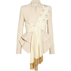 Altuzarra Bora embellished crepe and silk jacket (£3,065) ❤ liked on Polyvore featuring outerwear, jackets, tops, coats, pink silk jacket, pink jacket, silk jacket, altuzarra and embellished jacket