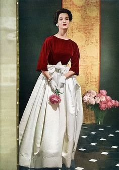 Dramatic Red and White Evening Gown 1950s