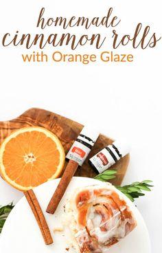 Perfect for brunch! Delicious Homemade Cinnamon Rolls with Cinnamon Bark and Orange Vitality™ Glaze
