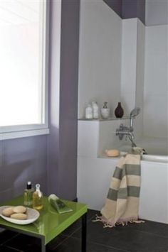 Parme et vert pour salle de bain