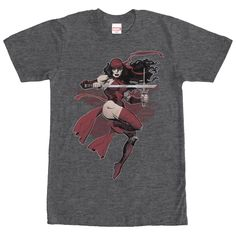Elektra - Elektra Natchios has always had to battle her inner demons on the Marvel Elektra Heather Charcoal T-Shirt. The Greek mercenary, Elektra, is featured in her red suit down this gray Elektra shirt.