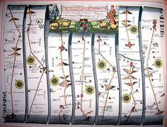 From John Ogilby's Britannia Atlas -- a strip map showing the route from Newmarket to Wells and Bury Edmunds 1675