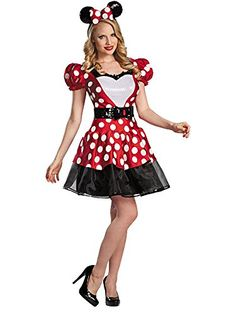 Women's Disney Glam Minnie Mouse Costume  Character headpiece with matching bow Official Disney Licensed Costume