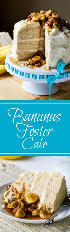 Bananas Foster Cake ~ A layered cinnamon-flavored cake with Caramel Cream Cheese Icing and a Bananas Foster Topping. The topping can be incorporated as a filling for this cake. No Bake Desserts, Just Desserts, Delicious Desserts, Dessert Recipes, Cupcake Recipes, Banana Foster Cake Recipe, Cheesecake, Spicy Recipes, Banana Recipes