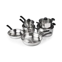 FortheChefs 10 Piece Stainless Steel Cookware Set with Tempered Glass Lids  Bakelite Handles  Knobs -- Be sure to check out this awesome product.-It is an affiliate link to Amazon.