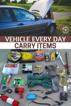 Vehicle Every Day Carry Items - If you want to be more prepared, check out this awesome vehicle every day carry list that will help you out tremendously if you find yourself suck in a situation where you only have your vehicle. Survival Supplies, Emergency Supplies, Survival Food, Camping Survival, Survival Prepping, Survival Skills, Survival Quotes, Survival Hacks, Survival Stuff