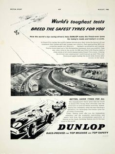 1960 Ad Dunlop Tyres Tires Car Auto Parts Formula 1 Grand Prix Racing Art YMT2
