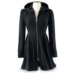 Black Orchid Jacket Dress Exclusive! Hooded Elegance. Wear it as a jacket; wear it as a dress! The ultrasoft hoodie design includes a pleated waistline and shoulders, and side-slit pockets. 100% cotton. Machine washable.