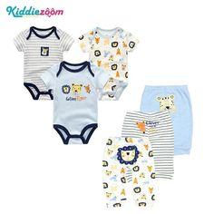 0c103dc73 6PCS/LOT Newborn Baby Rompers+ Pants O-neck Baby Jumpsuit 100% Cotton –  eosegal