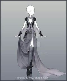 [Close] Design by Lonary on DeviantArt Dress Drawing, Drawing Clothes, Fashion Design Drawings, Fashion Sketches, Anime Outfits, Cool Outfits, Comics Anime, Anime Dress, Dress Sketches