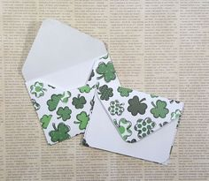 Shamrock Mini Cards, Blank Cards, St Patricks Day, Gift Cards, Enclosure Cards, Favor Cards, Mini Card Set, Fun Mini Envelopes, Set of 4 by TiddleywinksDesigns on Etsy