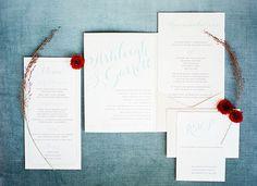 blue calligraphy invitation