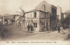 Le coin de la rue des Saules et la rue de l'Abreuvoir (ancienne carte postale, vers 1900)
