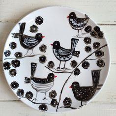 Hand painted Artwork on Porcelain Plate/Birds Painting/ Modern Art/ Painting/ Birds/ Birdson the Tree