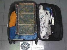 La valija de uno de los pasajeros con la jaula lleva de aves vivas