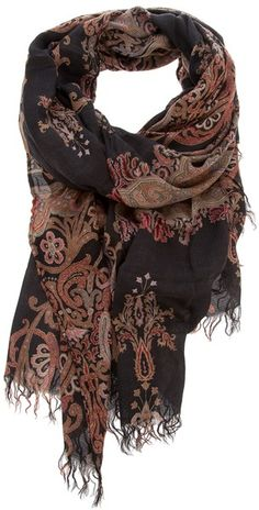 Etro Paisley Print Scarf in Black