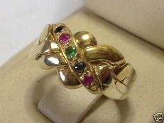 9k Yellow Gold 4 Band 0.18ct Gemstone Turkish Puzzle Ring - FREE DHL SHIPPING #Dimenticare #Band