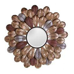 Espejo redondo decoración Hojas oro 64 cm IX50397 en Nuryba.com tu tienda de muebles y decoracion online