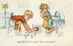 Carte humour enfant . with a doll