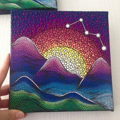Original Mountain Mandala Painting on Canvas Painting Office