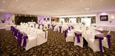 The purple colour scheme goes beautifully with the decor of the room Purple Color Schemes, Devon And Cornwall, Function Room, North Devon, Short Break, Colour, Weddings, Table Decorations, Star