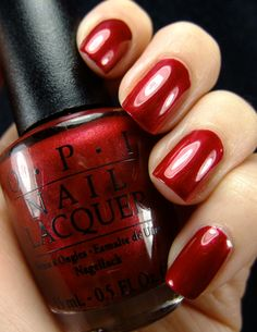OPI - I'm Not Really A Waitress - my absolute favorite red nail color (sophisticated red with a metallic sheen)