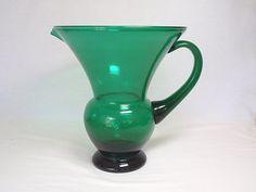 Green Pitcher Vase Depression Glass Art Deco by twocheekychicks, $42.00