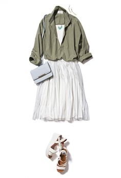 Olive green shirt over white eyelet dress or skirt. Wear with chucks or leather sandals or wedges. Khaki Shirt, Green Shirt, Lunch Date Outfit, White Eyelet Dress, How To Wear Scarves, Tokyo Fashion, Work Attire, Simple Dresses, Fashion Outfits