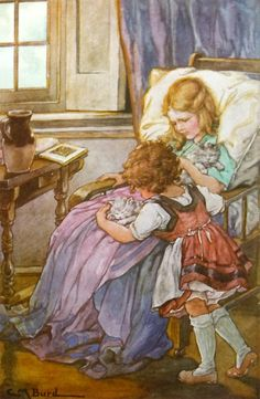 """Girls put down reading to cuddle kittens. Illustration by Clara M Burd. Heidi & Children of the Alps. Johanna Spyri. John C. Winston Company, 1924.  """"How! what! kittens!"""" shrieked Fraulein Rottenmeier. """"Sebastian! Tinette! Find the horrid little things! take them away!"""" … It was all peace and quietness there now, Clara had the kittens on her lap, and Heidi was kneeling beside her, both laughing and playing with the tiny, graceful little animals."""