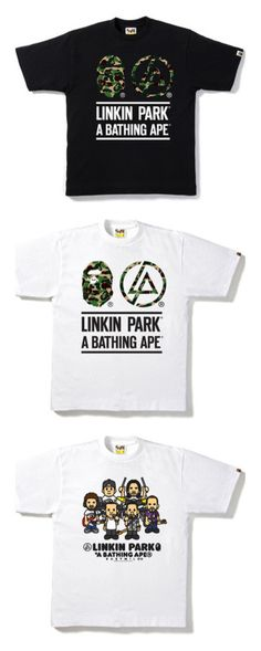 """A Bathing Ape x Linkin Park"" by patrick-peterson ❤ liked on Polyvore featuring tops, t-shirts, cotton tees and cotton t shirts"