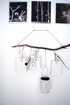 Alternative display - hanging things from a branch (or a painted branch!)