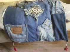 Shabby chic Jeanstasche.  Entworfen und mit Liebe gefertigt. 50,00 €
